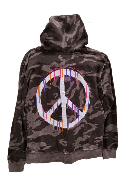 "WREN AND GLORY X VH - NEW BURNOUT ""DRIPPING PEACE"" ZIP HOODIE"