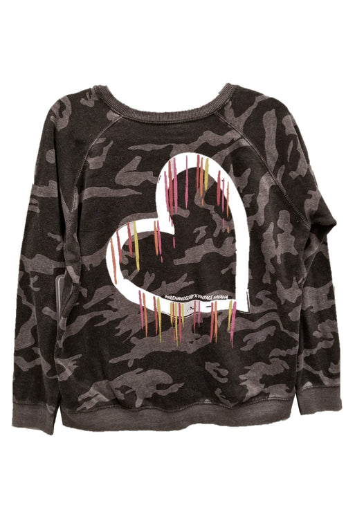 "WREN AND GLORY X VH - NEW BURNOUT ""BLEEDING HEART"" FLEECE CREWNECK"