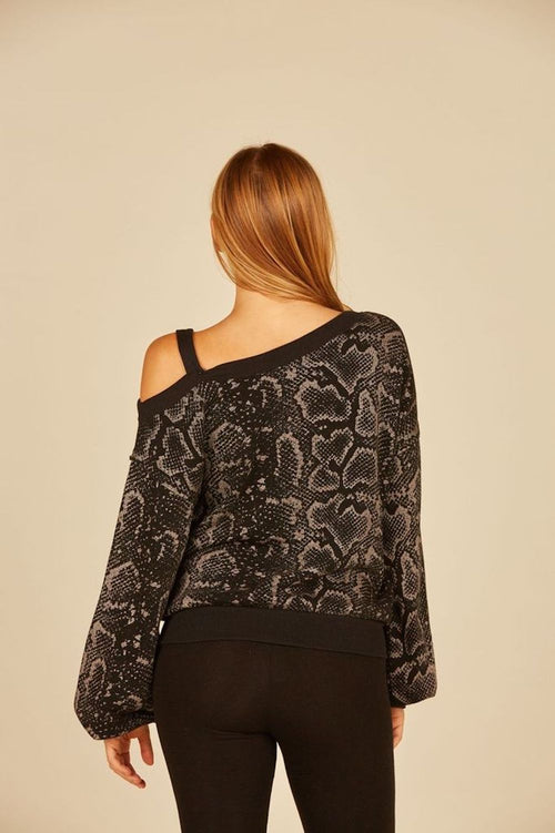 Black Metallic Snakeskin Burnout One Shoulder Top
