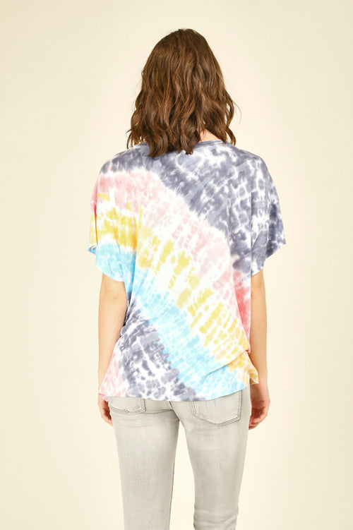 Diagonal Tie Dye Criss Cross Tee