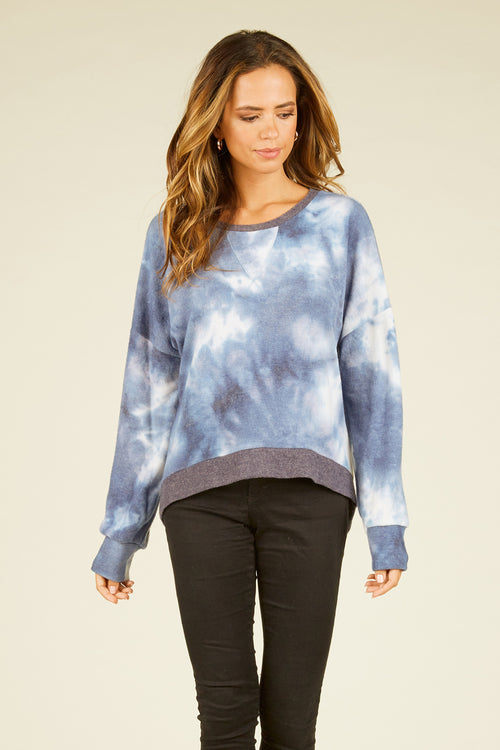 Navy Tie Dye Brushed Hacci Crewneck