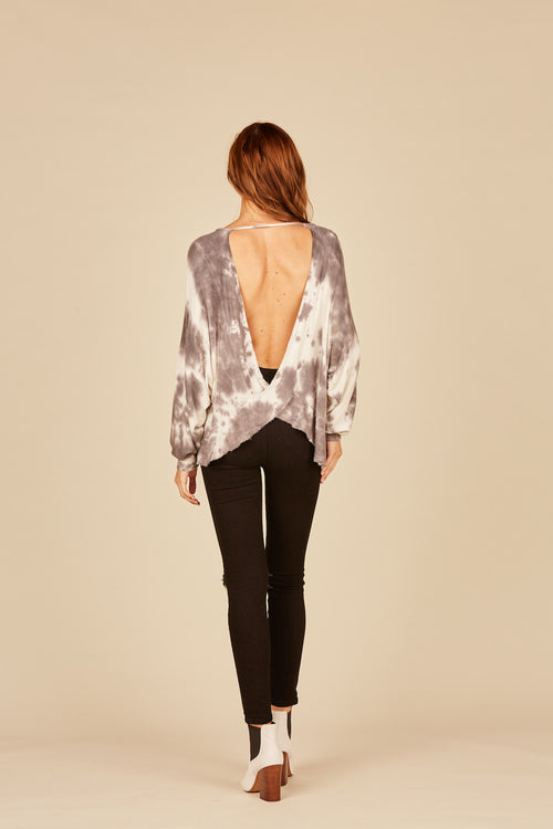 Ivory/ Grey Loopy Terry Tie Dye Criss Cross Top