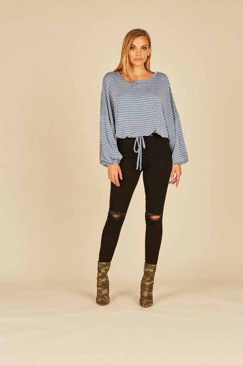 Blue Texture Drawstring Top