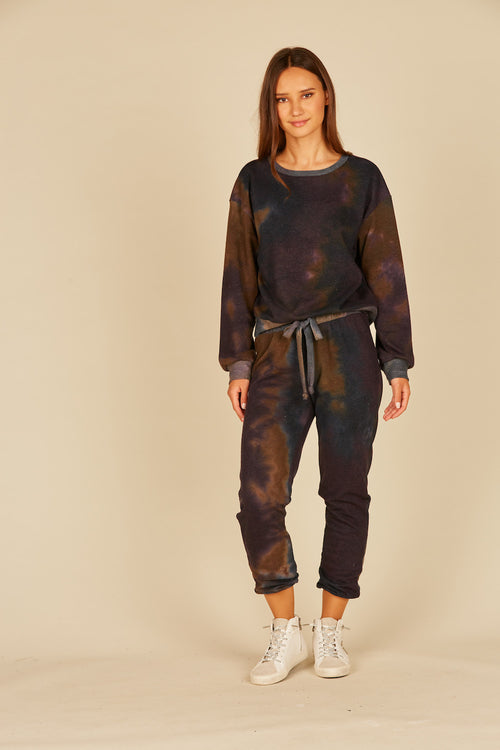 Eggplant/Navy French Terry Tie Dye Joggers