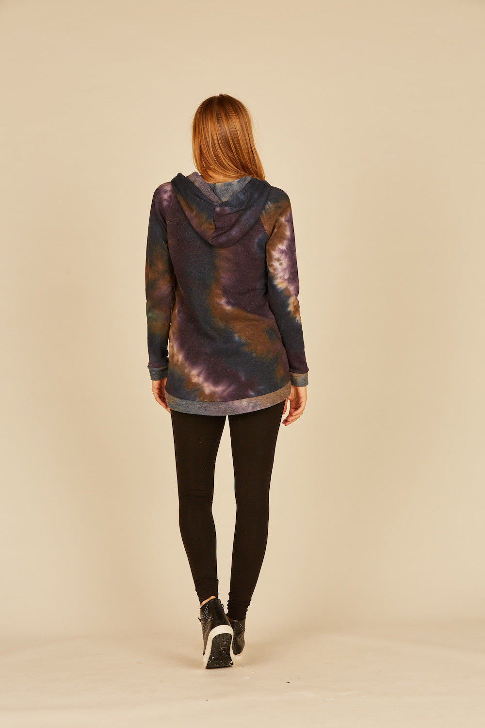 Eggplant/Navy French Terry Tie Dye Hoodie