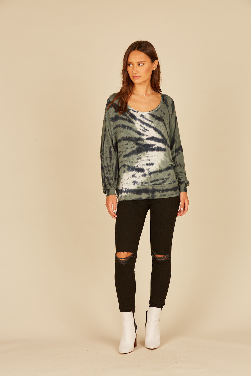 Olive/Slate/Ivory Loopy Terry Tie Dye Criss Cross Top