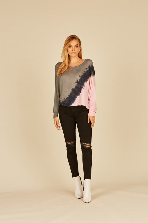Olive/Charcoal/Pink Loopy Terry Tie Dye Criss Cross Top