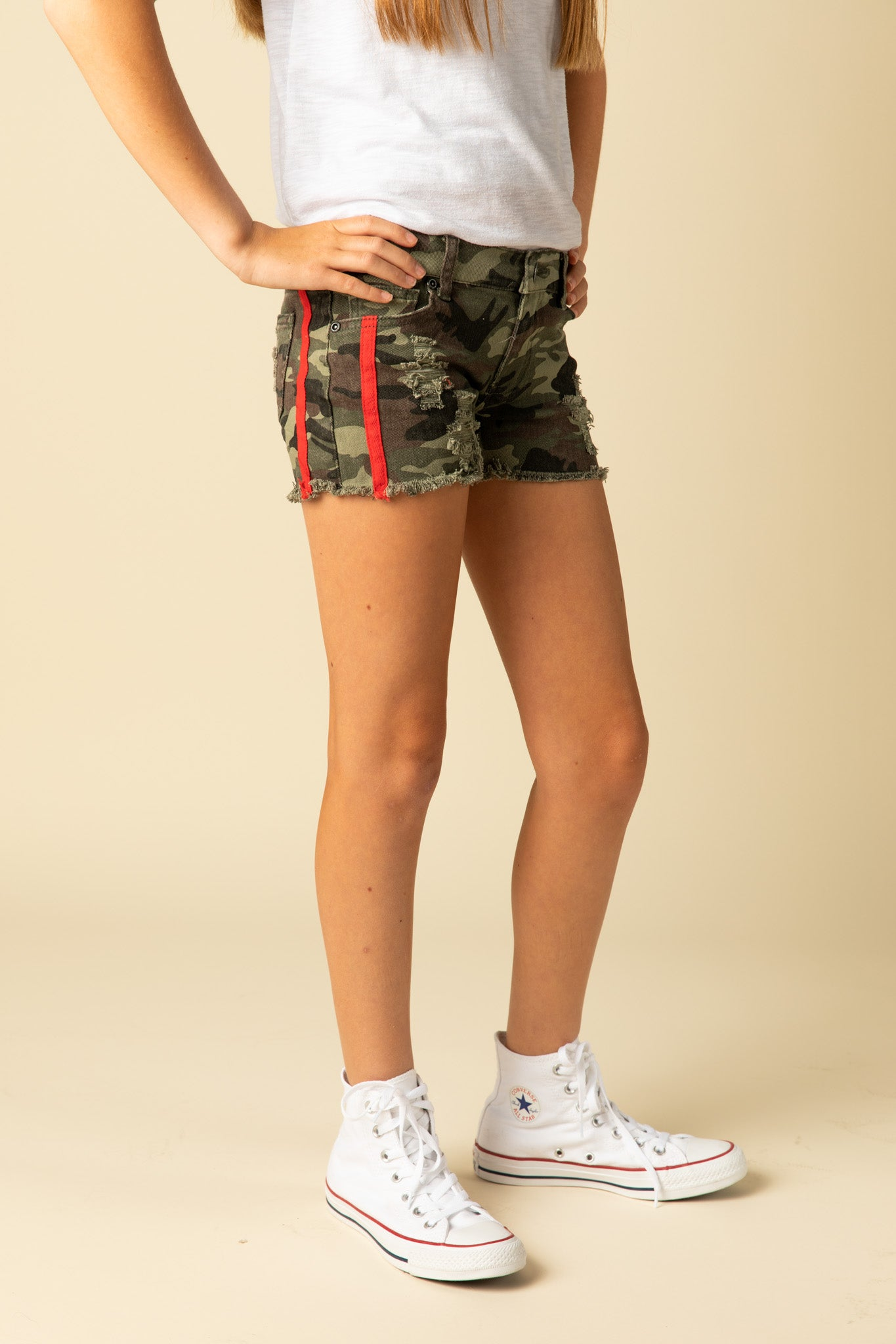 CAMO SHORTS WITH RED SIDE TAPE