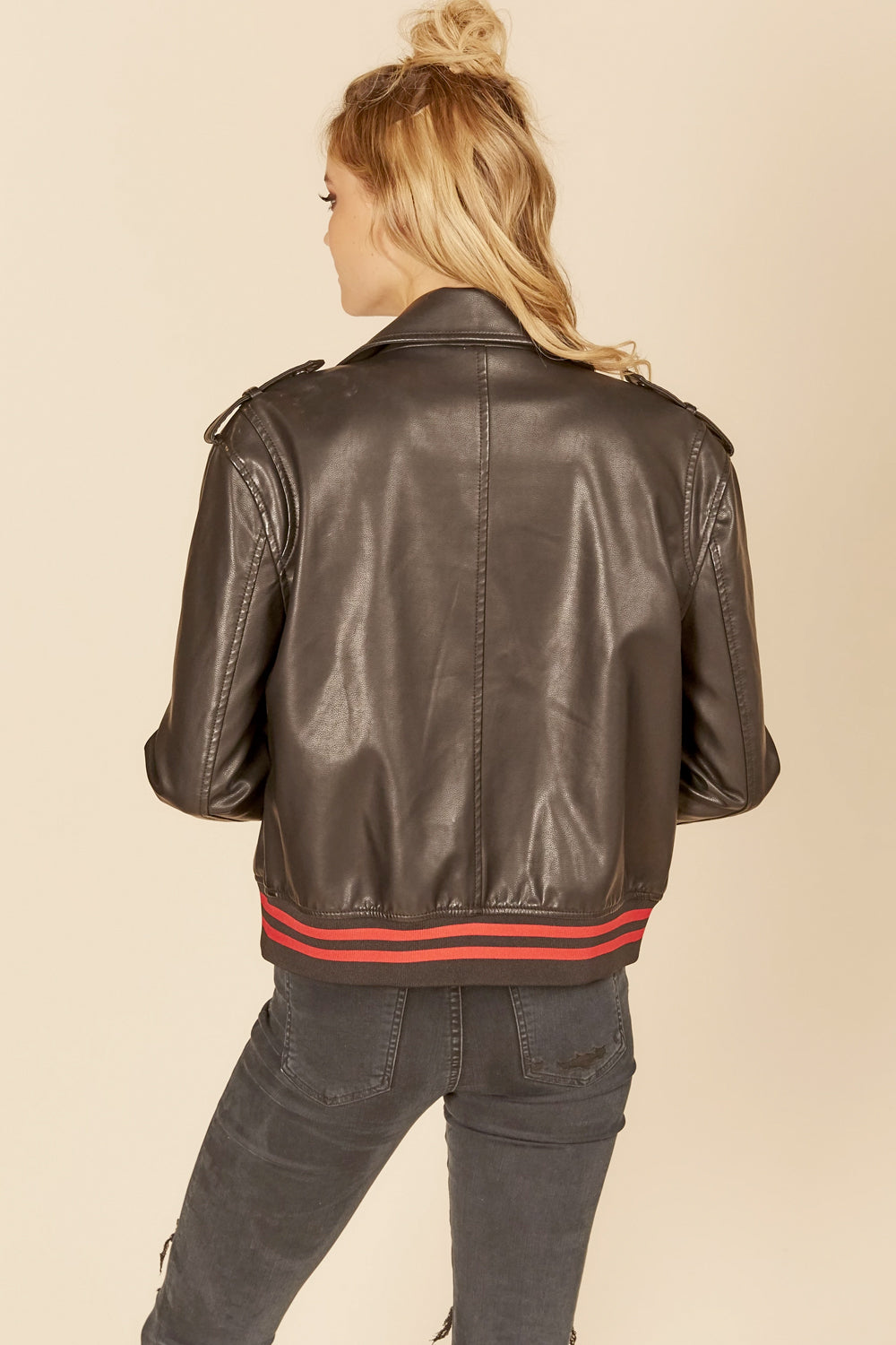Stripe Rib Trim Distressed Leather Jacket
