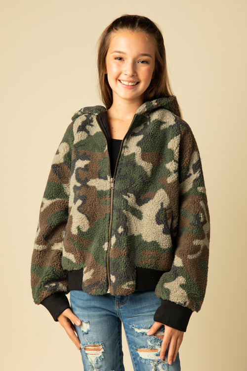 CAMO FAUX FUR BOMBER JACKET