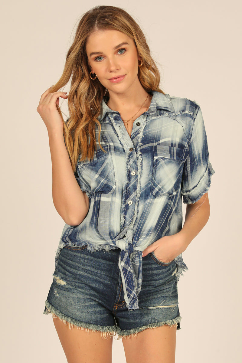 Faded Denim Plaid Tie Front Shirt