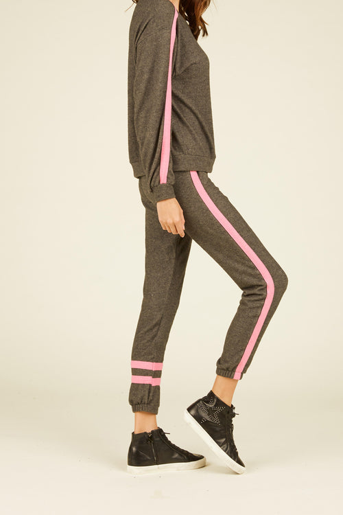 Charcoal and Hot Pink Jogger