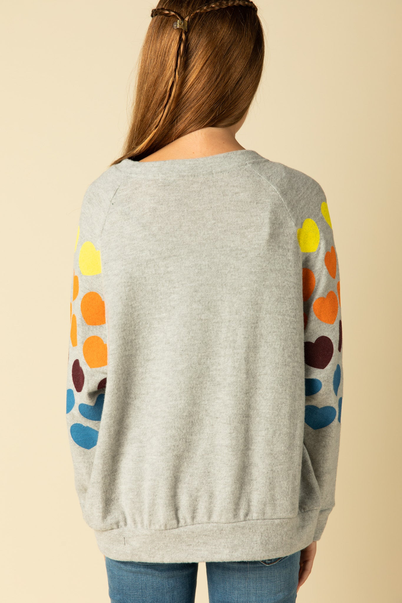 MULTI HEART BRUSHED FLEECE CREWNECK