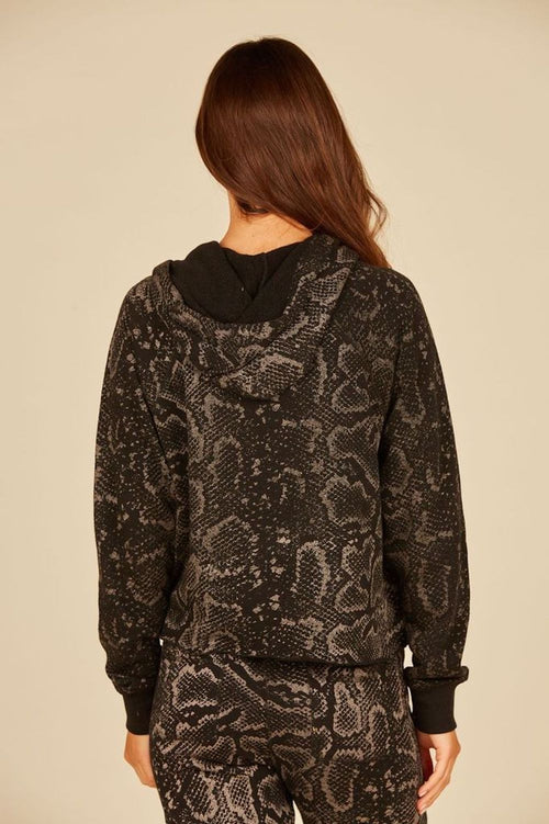 Black Metallic Snakeskin Burnout Cuff Hoodie