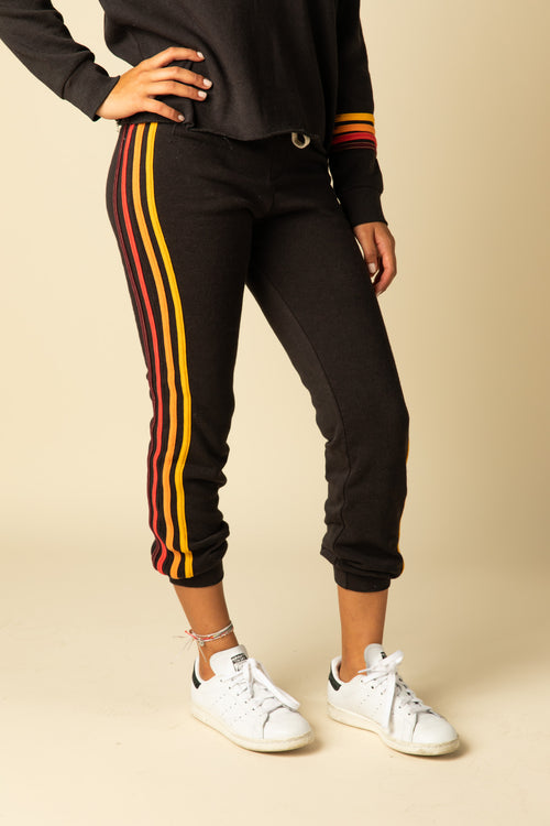 BURNOUT JOGGERS WITH MULTI STRIPES