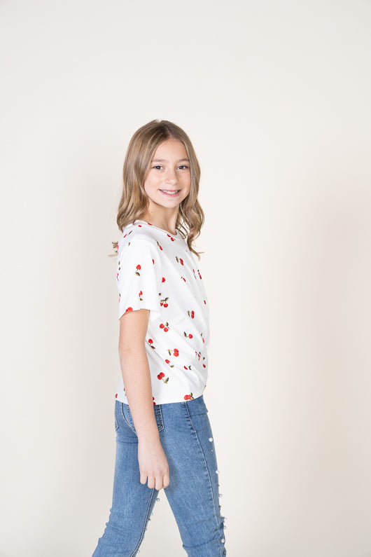 ALL OVER CHERRY TIE FRONT TEE