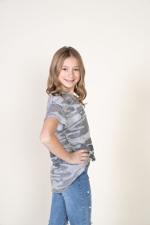 CAMO SIDE TIE T-SHIRT