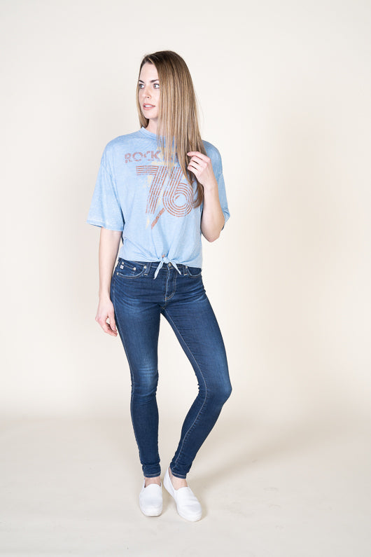 """Rock & Roll"" Graphic Tie Front Tee"