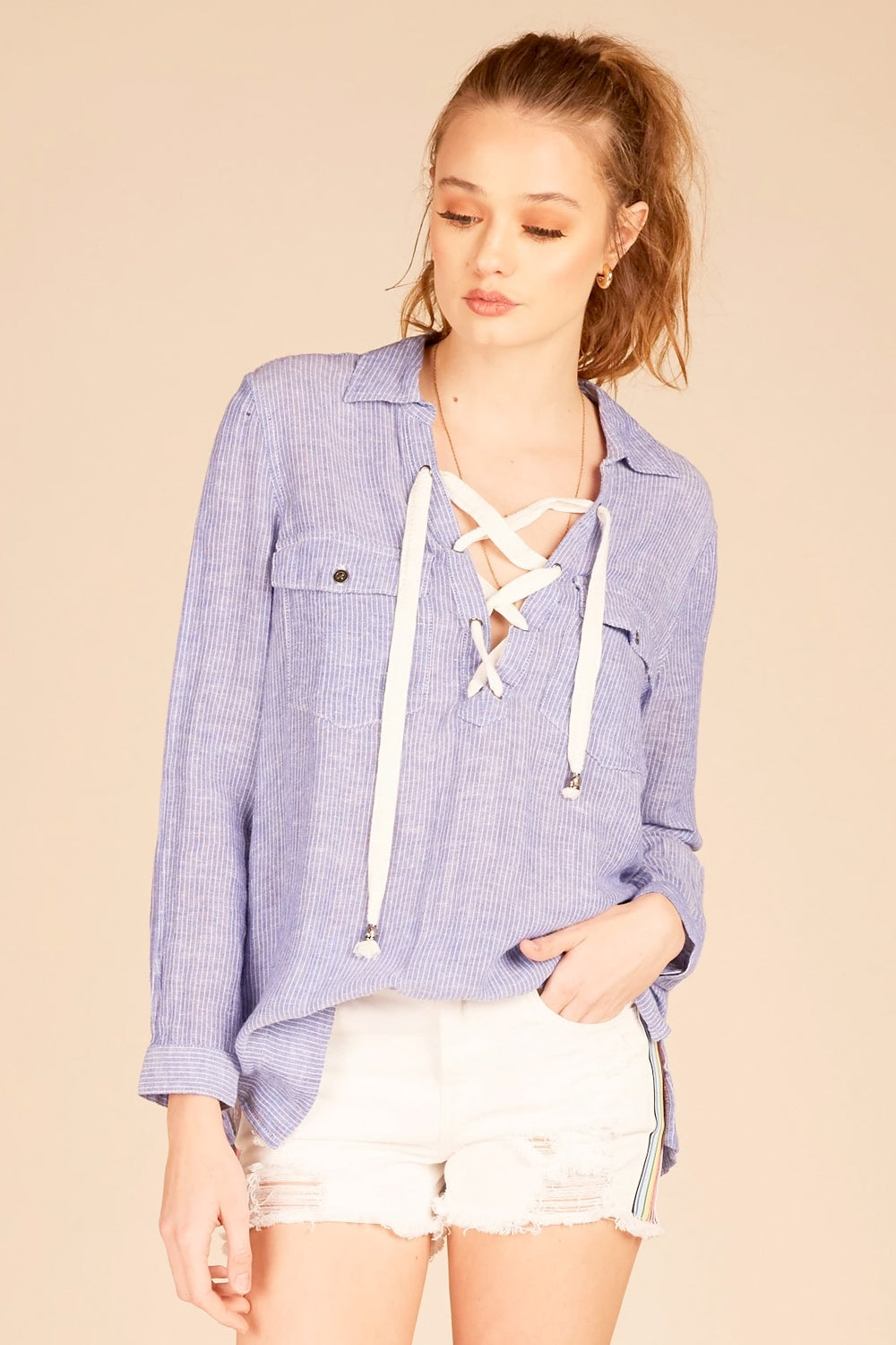 Linen Pin Stripe Shirt