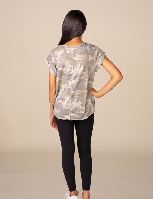 Camo Burnout V-Neck Tee
