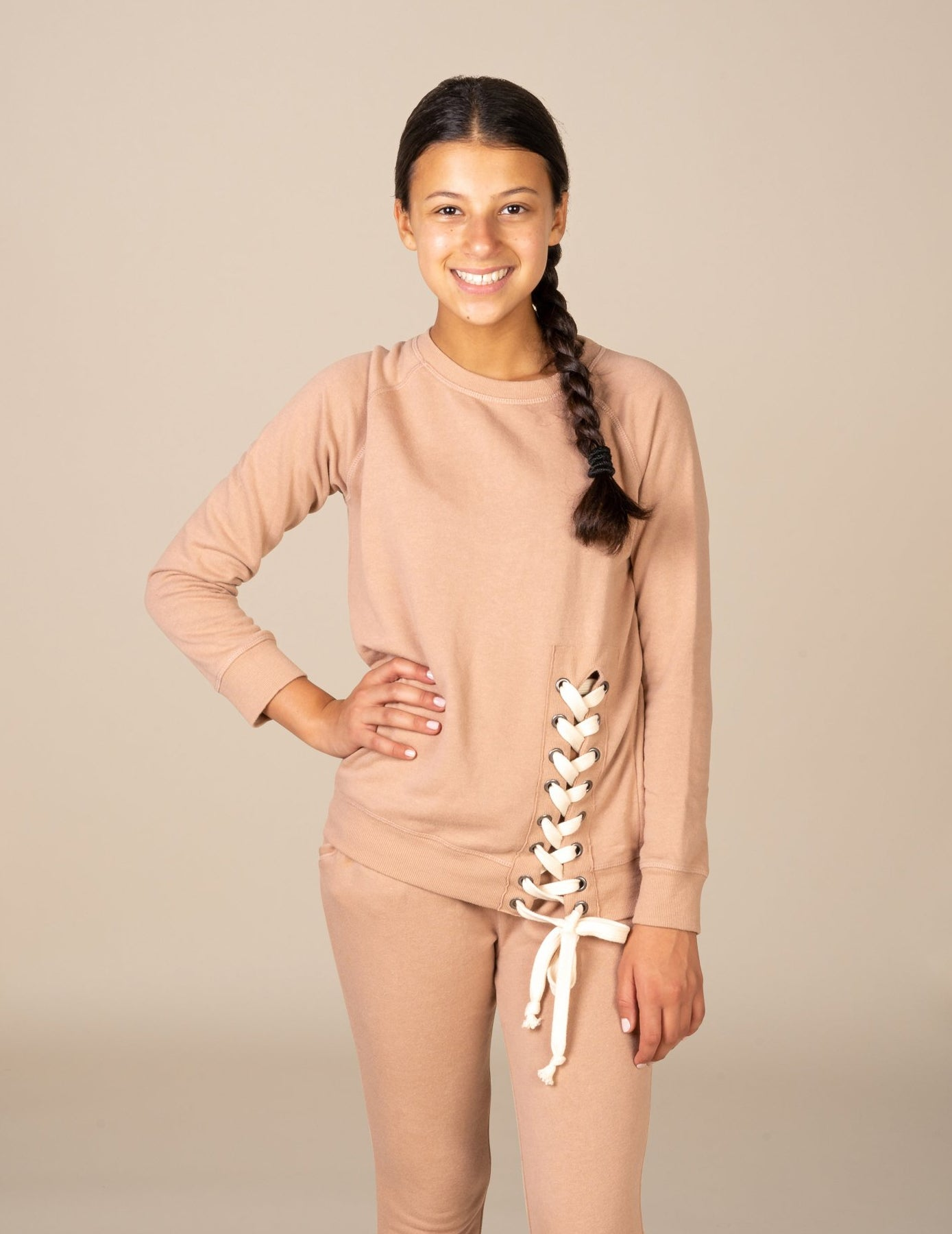 Terry Lace Up Sleeve Crewneck