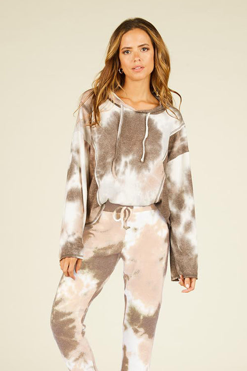 Tan and Charcoal Tie Dye Hoodie