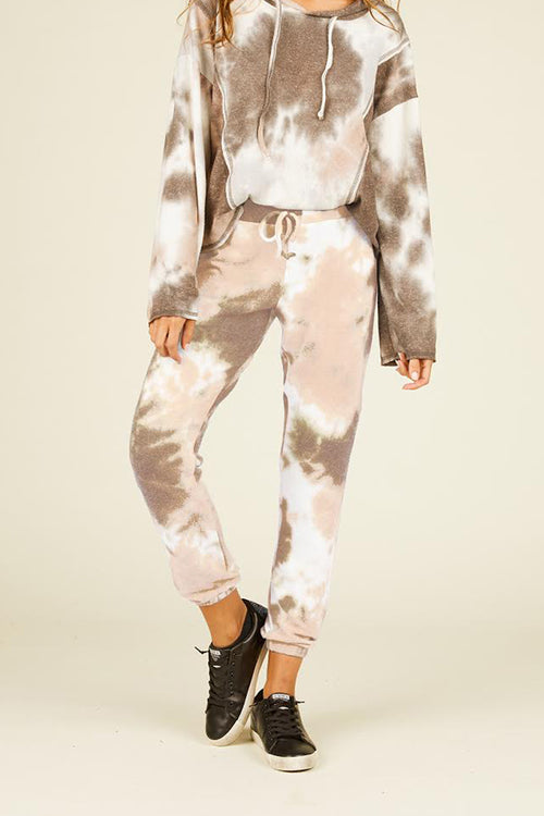 Tan and Charcoal Tie Dye Jogger