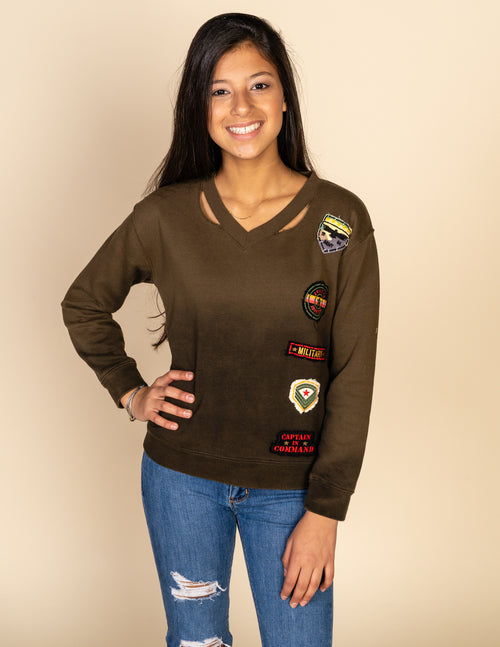 Slash V Neck Patch Sweatshirt