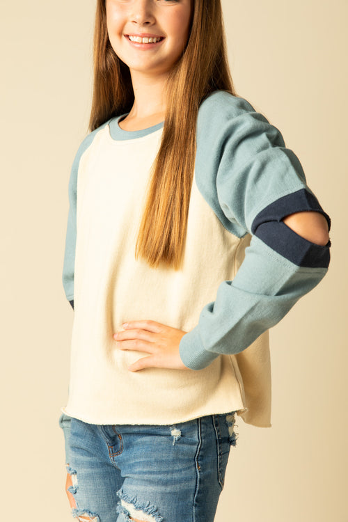 COLORBLOCK SLIT ELBOW SWEATSHIRT