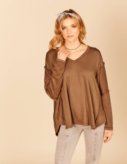 Reverse Fleece Long Sleeve Top