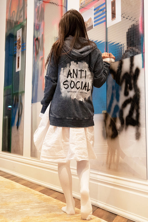 "WREN AND GLORY X VH - NEW BURNOUT ""ANTI-SOCIAL"" ZIP HOODIE"