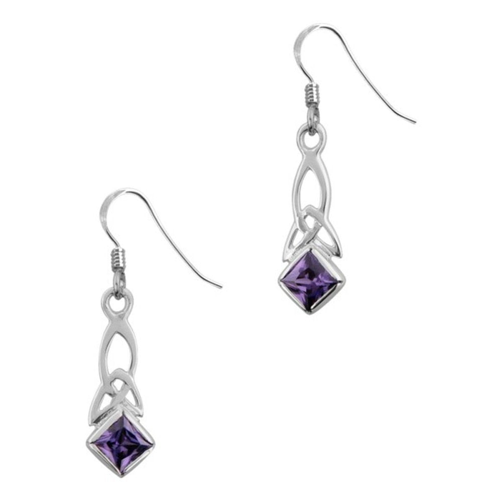 Celtic Holy Trinity Knot 925 Sterling Silver Precious Metal Drop Style Pair Of Earrings - Amethyst Colour Stone