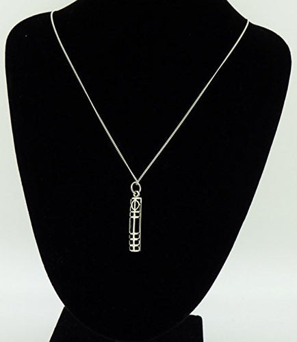 Sterling Silver Rennie Mackintosh rectangular window Pendant & 18 inch curb chain in quality gift box.