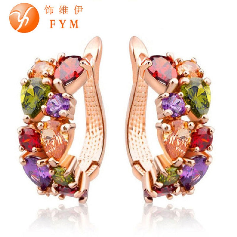 FYM Mona Lisa Luxury Rose Gold Multicolour Hoop Earrings