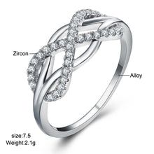 Stunning Crystal Infinity Ring with Inlayed Cross - Cubic Zircon CZ