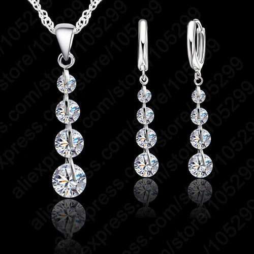 925 Sterling Silver Link Chain Crystal  Pendant Jewelry Set