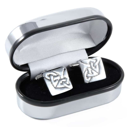 Polished Pewter Square Chainlink Design Gents Cufflinks - In Quality Polished Presentation Box
