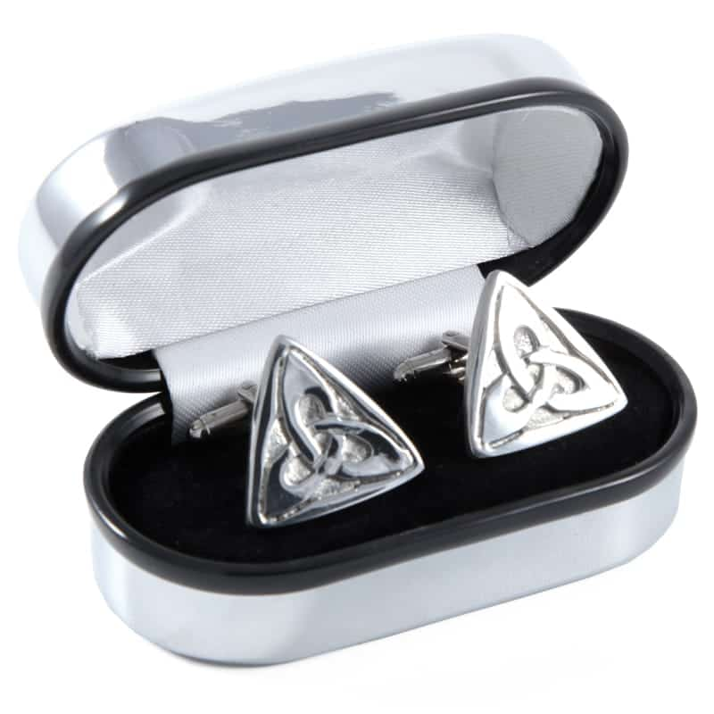 Polished Pewter Triangular Scottish designed Cufflinks - Complete with Polished Gift Box