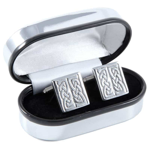 Polished Pewter Square and Knotwork Design Cufflinks - Complete with Quality Polished Gift Box