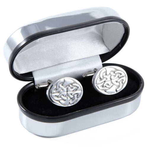 Polished Pewter Oval and Knotwork Design Cufflinks - Complete with Quality Polished Gift Box