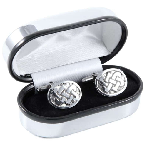 Polished Pewter Oval and Interlinked Knotwork Design Cufflinks - Complete with Quality Polished Gift Box