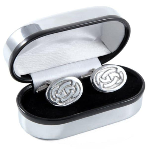 Polished Pewter Oval and Linked Knotwork Design Cufflinks - Complete with Quality Polished Gift Box