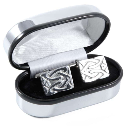 Polished Pewter Rectangle Design Cufflinks - Complete with Quality Polished Gift Box