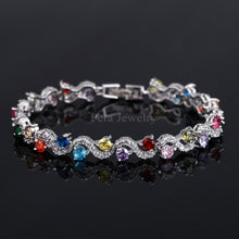 Ladies Sterling Silver Cubic Zirconia Royal Blue Stone Bracelets