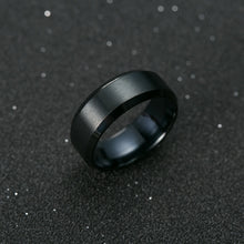 Fashionable Mens Black Polished Titanium Ring - various sizes