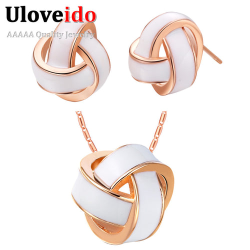 Uloveido Enamel Earrings and Necklace Jewelry Set