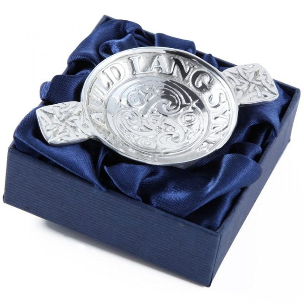 Scottish Pewter Drinking Quaich engraved with