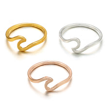Rose Gold and Silver Wave Rings for Women