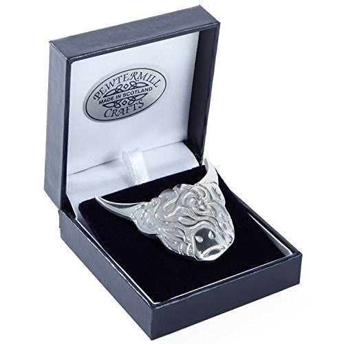 Polished Pewter Highland Cow Pendant