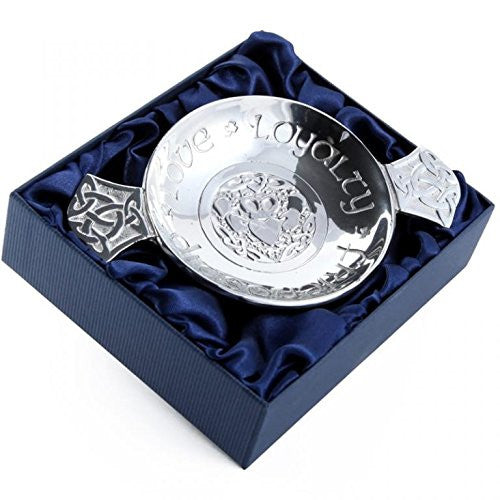 Polished Scottish Pewter Quaich engraved